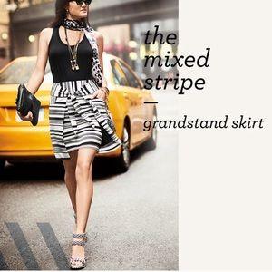 CAbi Black & White Grandstand Knit Skirt